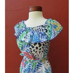 Vintage Tropical Ruffle Romper Jumpsuit Spring